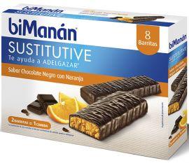 Bimanan Sustitutive Chocolate Negro y Naranja 8 Barritas