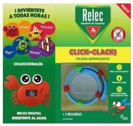 Relec Pulsera Antimosquitos Click-Clack + Reloj Digital Cangrejo